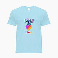 Детская футболка для девочек Лайки Стич (Stitch Likee) (25186-1596) Голубой, фото 1