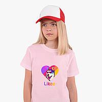 Детская футболка для девочек Лайки Лайка (Likee) (25186-1598) Розовый, фото 1