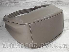 613-3 Натуральная кожа Объемная сумка женская бежевая Кожаная сумка-мешок Кофейная кожаная сумка на плечо хобо, фото 3