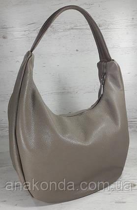 613-3 Натуральная кожа Объемная сумка женская бежевая Кожаная сумка-мешок Кофейная кожаная сумка на плечо хобо, фото 2