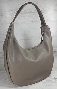 613-3 Натуральная кожа Объемная сумка женская бежевая Кожаная сумка-мешок Кофейная кожаная сумка на плечо хобо