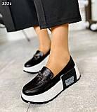Черные кожаные слипоны на платформе женские, фото 3