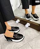 Черные кожаные слипоны на платформе женские, фото 5