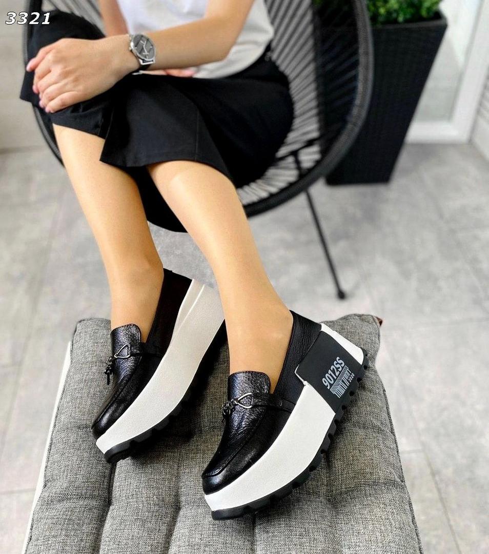 Черные кожаные слипоны на платформе женские