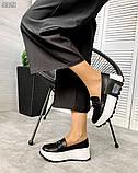 Черные кожаные слипоны на платформе женские, фото 2