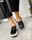Черные кожаные слипоны на платформе женские, фото 8