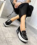 Черные кожаные слипоны на платформе женские, фото 4