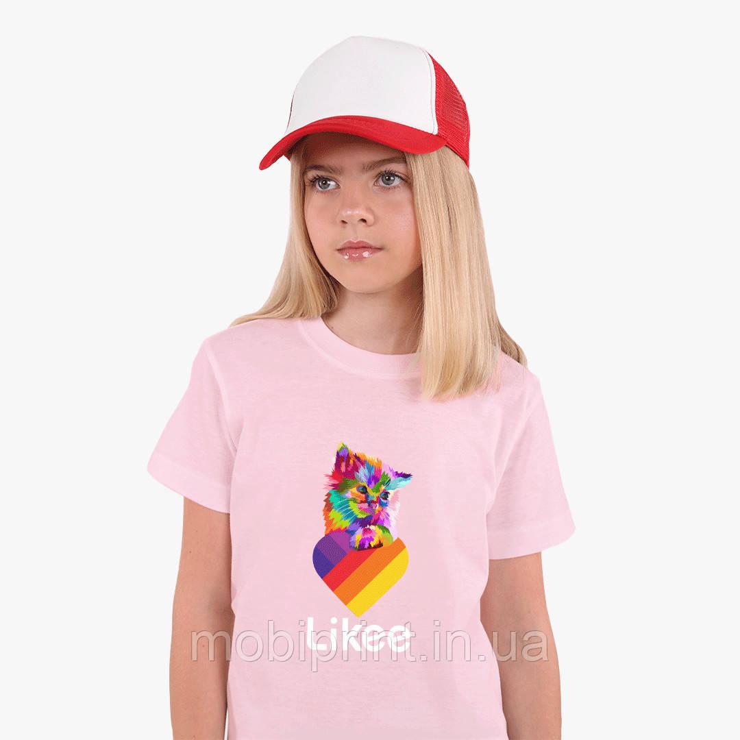 Детская футболка для девочек Лайк (Likee) (25186-1470) Розовый