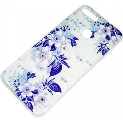 Силикон Huawei Y6 (2018)/Honor7A Pro Blue Flowers iPefet, фото 2