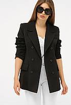 Женский бежевый пиджак из костюмной ткани Размеры  S M L XL, фото 2