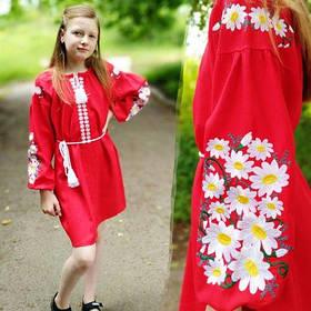 Дитяче вишите плаття на червоному льон
