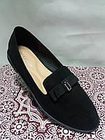 Туфли женские из эко-замши демисезонные чёрные на низком ходу 36 38 размер