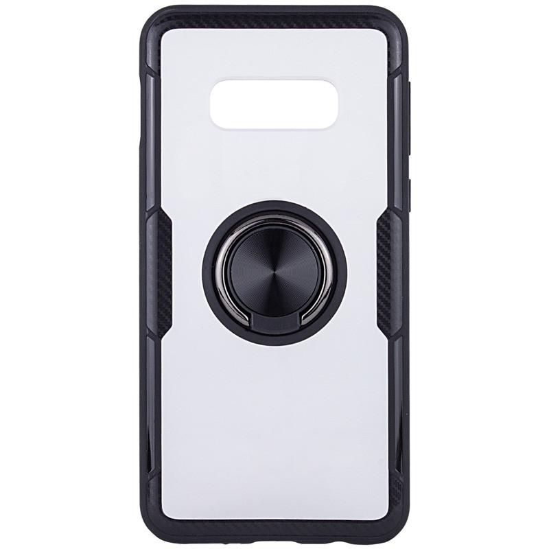 Чехол бампер Primolux Ring Magnetic Stand для смартфона Samsung Galaxy S10e (SM-G970) - Black