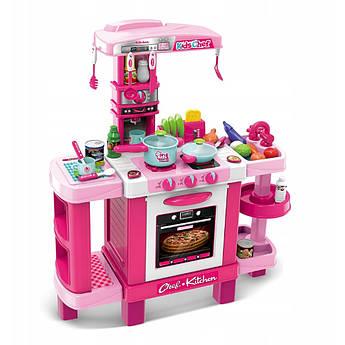 Большая детская интерактивная кухня Kids Chef розовая с аксессуарами  87 см