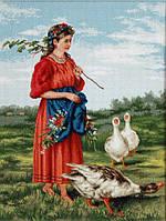 """Набор для вышивания крестом """"Luca-s"""" B486 Девочка с гусями-Маковский"""