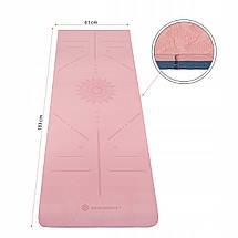 Килимок (мат) для йоги та фітнесу Springos TPE 6 мм YG0014 Pink/Blue, фото 3