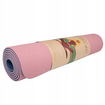 Килимок (мат) для йоги та фітнесу Springos TPE 6 мм YG0014 Pink/Blue, фото 2