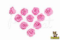 Цветы Розы Розовые из фоамирана (латекса) 2  см 10 шт/уп