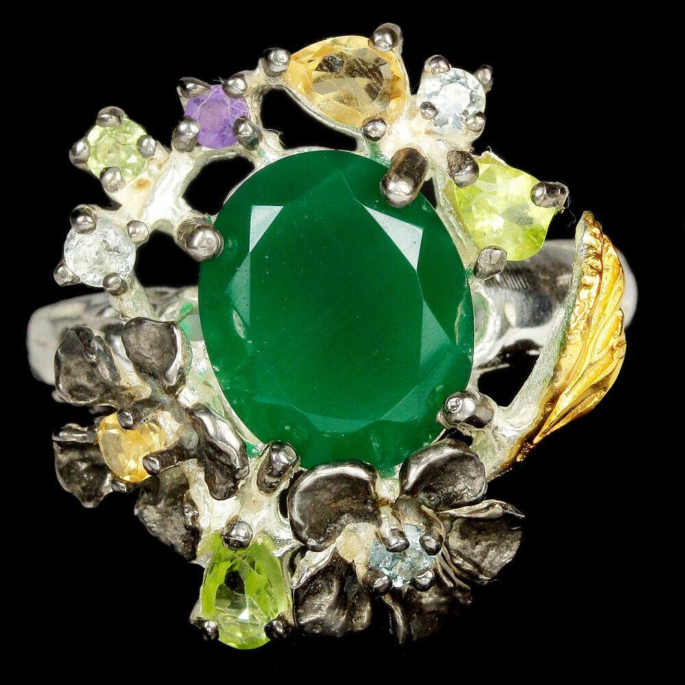 Серебряное кольцо с авантюрином зеленым, 1515КА