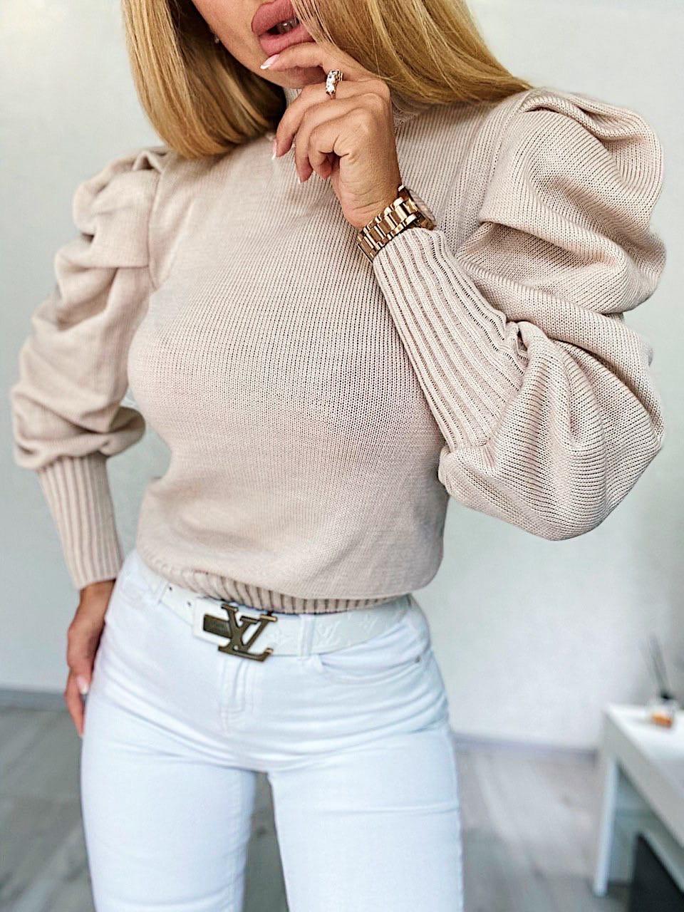 Женская вязаная кофта с рукавами фонариками 404861
