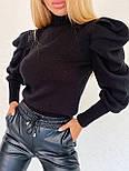 Женская вязаная кофта с рукавами фонариками 404861, фото 5