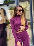 Женский брючный костюм из трикотажа лапши с укроченным гольфом и брюками клеш 36101100, фото 2