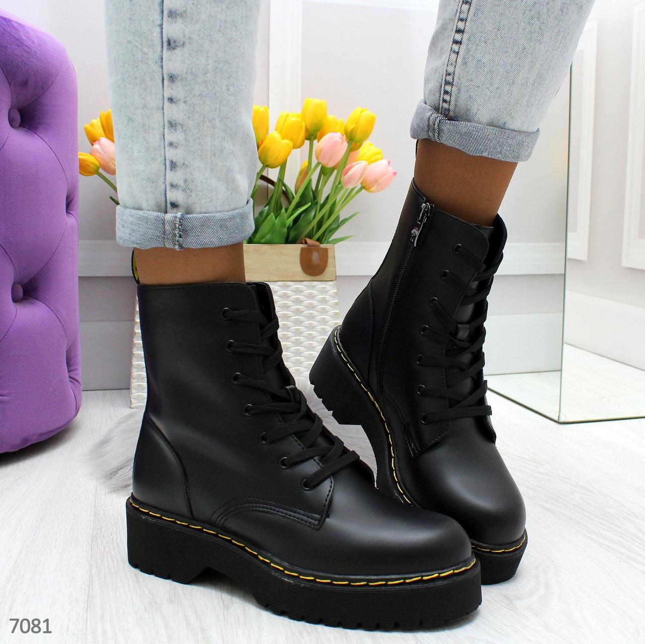 Женские ботинки из экокожи, высокие, на шнуровке 247082