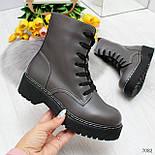 Женские ботинки из экокожи, высокие, на шнуровке 247082, фото 2