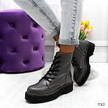 Женские ботинки из экокожи, высокие, на шнуровке 247082, фото 3