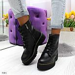 Женские ботинки из экокожи, высокие, на шнуровке 247082, фото 4