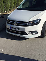 Накладка на передний бампер (под покраску) Volkswagen Caddy 2015↗ гг. Фольксваген Кадди