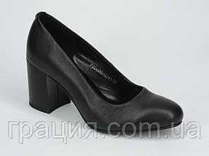 Женские туфли элегантные  кожаные натуральные на не большем каблуке
