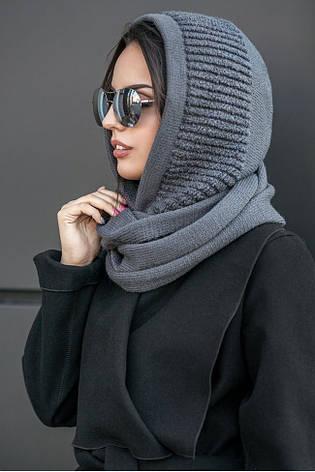 Жіночий снуд капор в'язаний шапкатемно-сірого кольору, фото 2