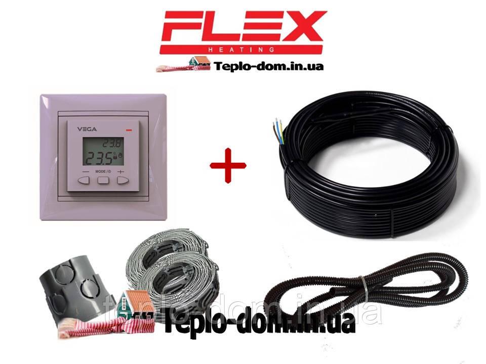 Електрический кабель для теплого пола Flex 10м²- 12м²/ 1750Вт (100м)  Vega LTC 070 в подарок