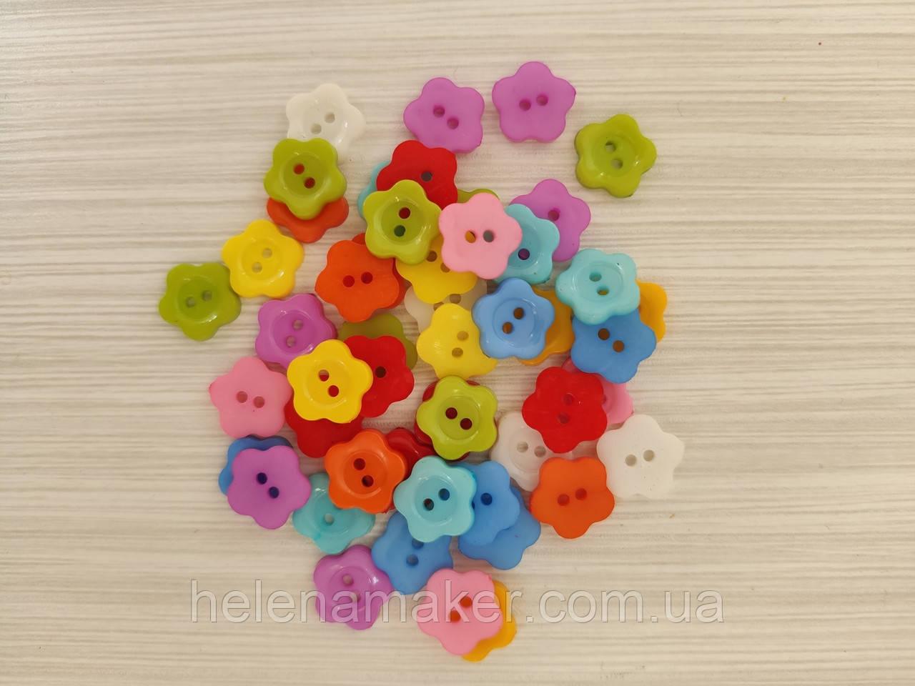 Набор пластиковых пуговиц Цветочкм 12 мм 10 шт