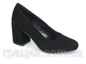 Элегантные женские туфли замшевые натуральные на не большем каблуке