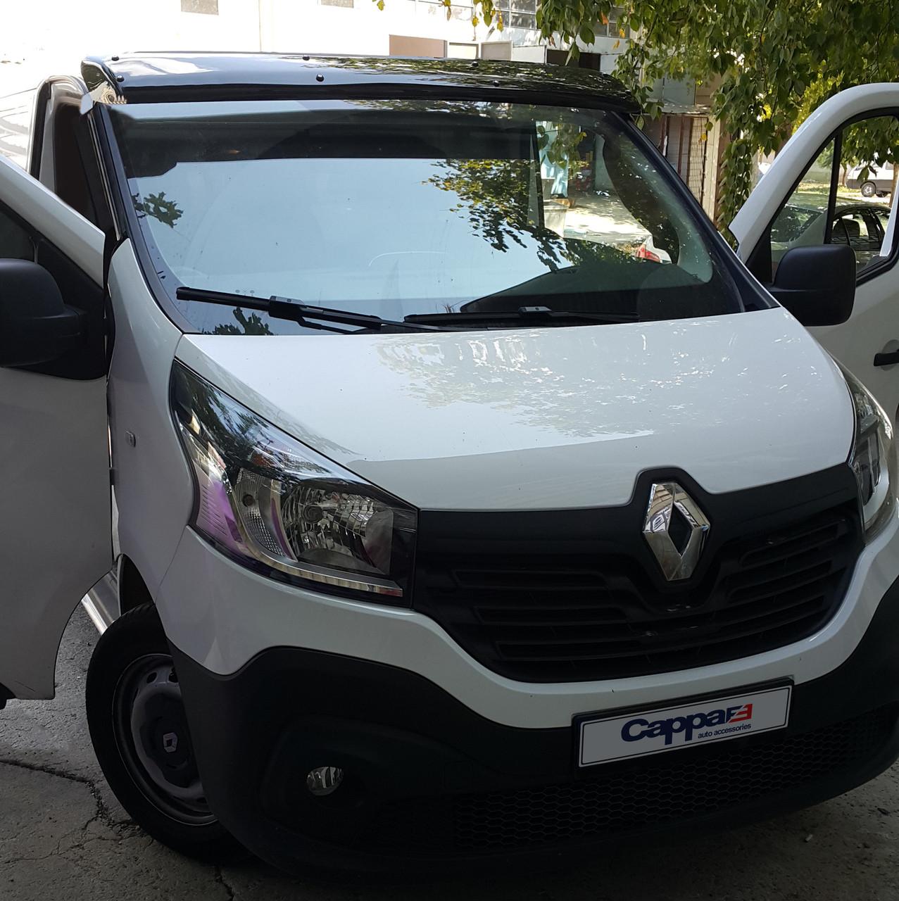 Козырек на лобовое стекло (черный глянец, 5мм) Renault Trafic 2015↗ гг. Рено Трафик