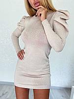 Вязаное платье короткое с длинными рукавами фонариками 4PL1557, фото 1
