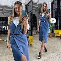 Платье с шерстью на запах длиной миди без рукава 83PL1558, фото 1