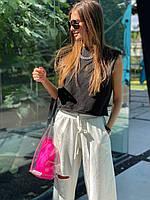 Женский брючный костюм двойка с брюками клеш и безрукавкой 83KO1095, фото 1