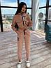 Женский брючный костюм тройка с топом и мастеркой на молнии 66KO1097Е