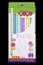 Карандаши цветные PASTEL 12цв KIDS Line ZiBi
