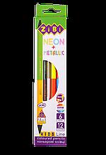 Карандаши цветные NEON+METALLIC 12цв 6шт KIDS Line ZiBi