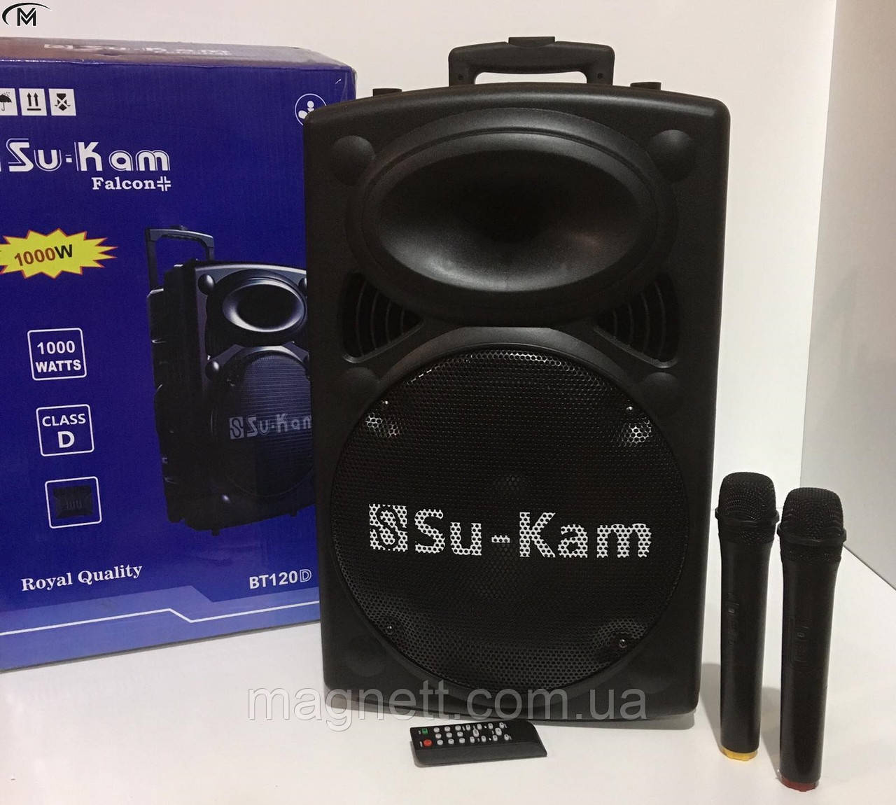Мощная портативная колонка-чемодан Su-Kam BT120 + 2 микрофона