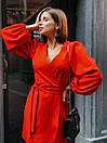 Платье на запах из костюмной ткани с рукавами фонариками 36py1559, фото 3