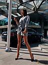 Женский комбинезон с шортами и рукавом фонариком 3/4, на талии пояс 31ks1089, фото 5