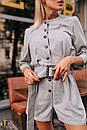 Женский комбинезон с шортами и рукавом фонариком 3/4, на талии пояс 31ks1089, фото 8