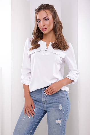 Блузка женская белая летняя с рукавом. Ткань - супер софт. Повседневная, офисная легкая блуза, фото 2