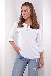 Блузка женская белая летняя с рукавом. Ткань - супер софт. Повседневная, офисная легкая блуза