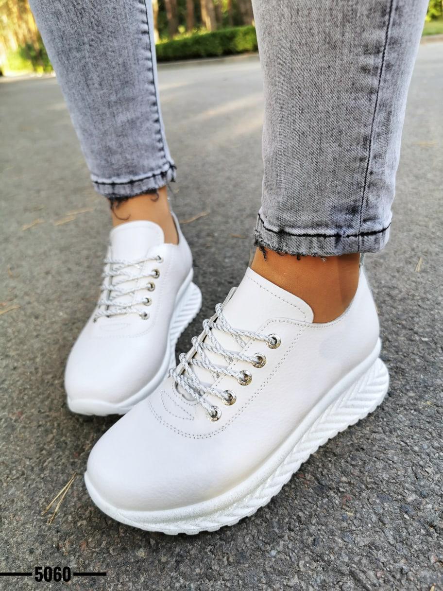 Женские белые кроссовки из натуральной кожи OB5060